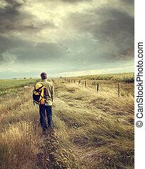 andar homem, baixo, estrada rural