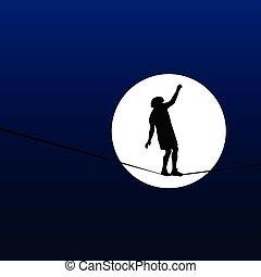 andar homem, um, tightrope, em, a, luar