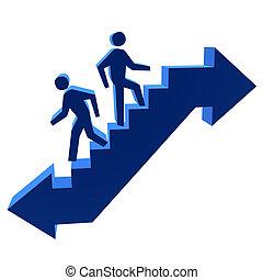 andar, &, homens, cima, baixo, escadas, 3d
