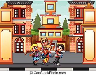andar, ir, crianças escola
