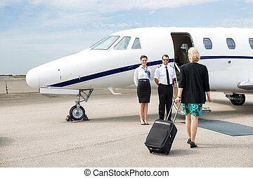 andar, jato, bagagem, executiva, privado