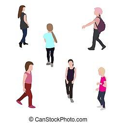 andar, jogo, silueta, ilustração, vetorial, children.