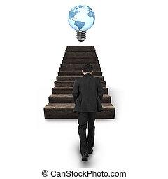 andar, luz, globo, forma, bulbo, direção, escadas, homem