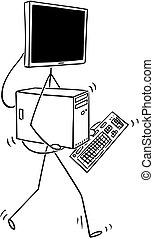 andar, monitor, cabeça, computador desktop, caricatura