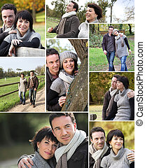 andar, montagem, par, casado, parque, outono, através