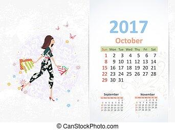 andar, mulher, 20, jovem, divertimento, shopping, calendário, bags., agradável