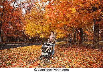 andar, mulher, carrinho criança, ao ar livre