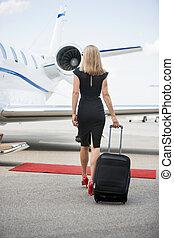 andar, mulher, jato, bagagem, privado, direção