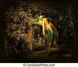 andar, mulher, jovem, forest., encantado, loura