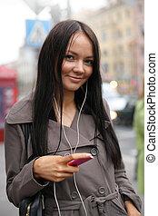 andar, mulher, jovem, jogador, rua, música