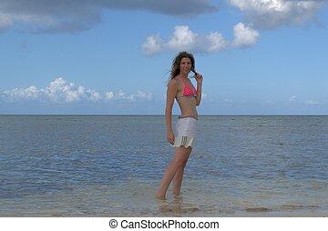 andar, mulher, praia, ao longo