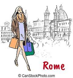 andar, mulher, roma