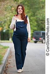 andar, mulher, rua, grávida
