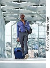 andar, negócio, bagagem, aeroporto, americano, homem africano