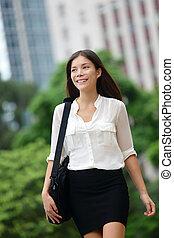 andar, negócio mulher, hong kong, ao ar livre, casual