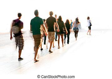 andar, obscurecido, pessoas