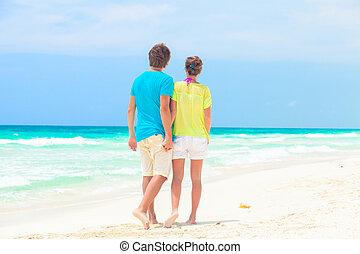 andar, par, costas, jovem, praia, vista