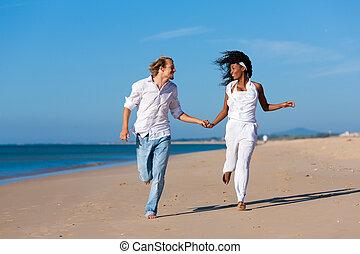 andar par, e, executando, ligado, praia