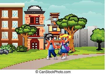 andar, par, escola, caricatura, crianças, estrada
