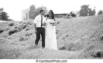andar, prado, foto, par, casado, recentemente