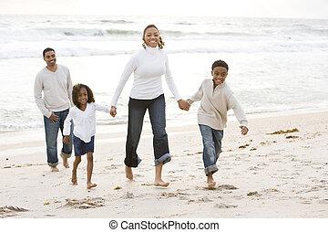 andar, praia, família, africano-americano