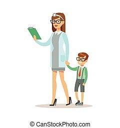 andar, pre-escola, médico feminino, exame médico, pediatra,...