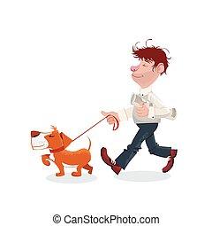 andar, seu, cão, homem