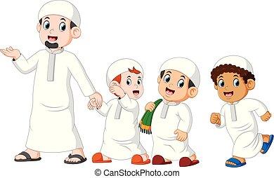 andar, seu, mubarak, meninos, pai, três, celebrando, ied