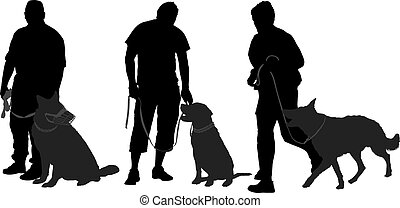 andar, seu, silueta, cão, homem