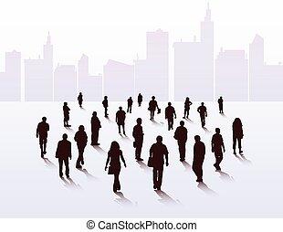 andar, silhuetas, pessoas
