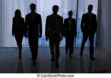 andar, silueta, escritório, pessoas negócio