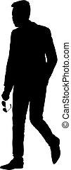 andar, silueta, mão, experiência preta, branca, homem, óculos