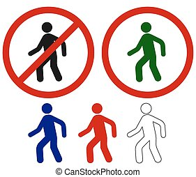 andar, sinais, proibido, homem