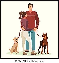 andar, talking), estava pé, (guy, pessoas, jovem, amigável, seu, enquanto, abraço, menina, cachorros