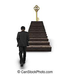 andar, tesouro, chave sinal dólar, direção, escadas, homem