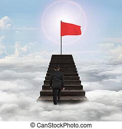 andar, topo, bandeira, ondulado, direção, escadas, vermelho, homem