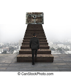 andar, topo, entesoure tórax, madeira, direção, escadas, homem