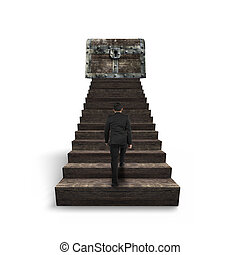 andar, topo madeira, entesoure tórax, direção, escadas, homem