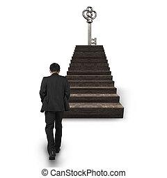 andar, topo, tesouro, tecla, direção, escadas, homem