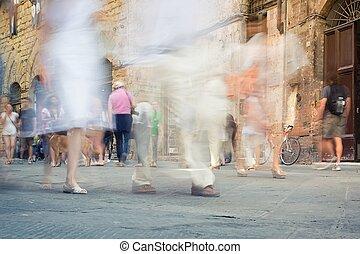 andar, torcida, pessoas, abstratos, enquanto, borrão