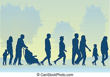 andar, torcida, pessoas