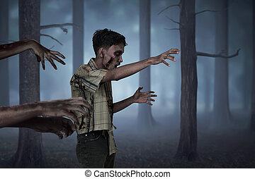 andar, torcida, sujo, zombies, mãos, homem, asiático