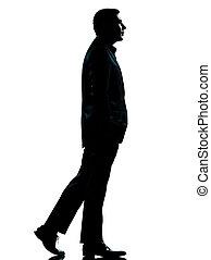 andar, um, silueta, homem negócio