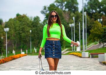 andar, verão, excitado, rua, mulher