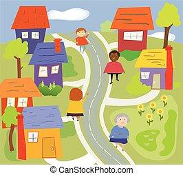andar, vizinhança