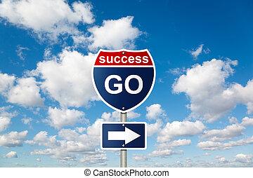 andare, a, successo, segno, bianco, lanuginoso, nubi, in, cielo blu, collage
