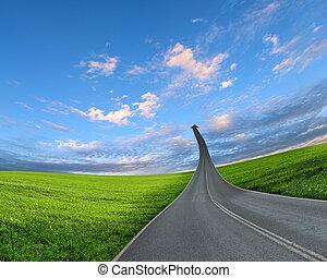 andare, autostrada, strada, su