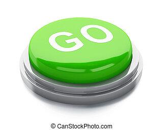 andare, button., illustrazione, 3d