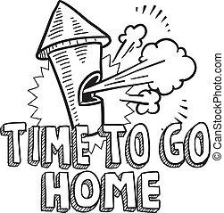andare casa, schizzo, tempo