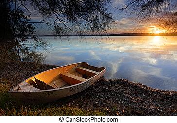 andare deriva, a, nuovo, rive, come, il, sole, serie, su, un...